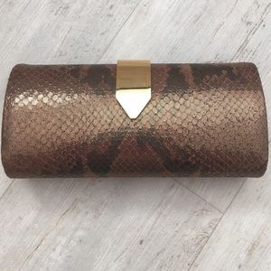 Banana Republic metallic snakeskin print clutch