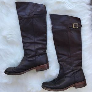 Coach Dark Brown Leather Tall Riding Boots