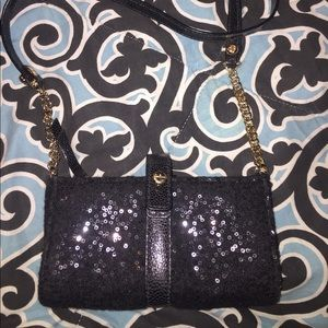 Henri Bendel Black cross body evening bag