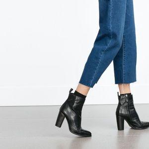 Zara high heel Italian leather ankle boots