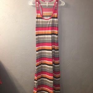 Racerback Pink striped maxi dress