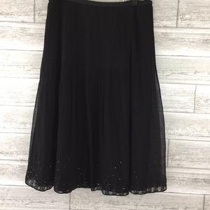 J CREW Skirt 4 Silk Black Pleated Flare A-Line Seq