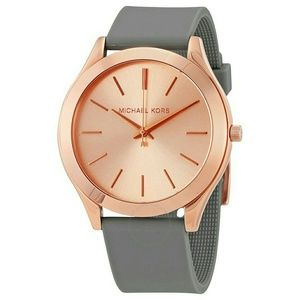 MK rose gold face with silicone gray band