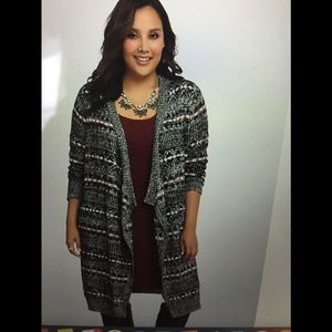 TORRID Fair Isle Drape Front long Cardigan