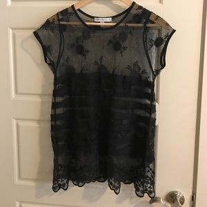 Anthropologie Bishop and Young black lace top sm