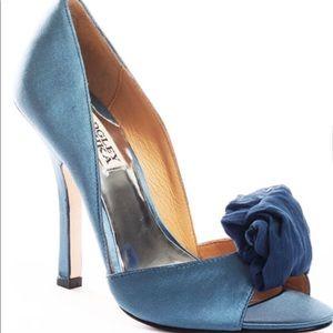 Badgley Mischka Blue Satin Peep Toe Pumps
