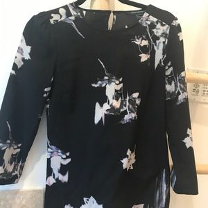 French Connection black floral blouse..