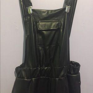 Denim - Leather looking jumpsuit