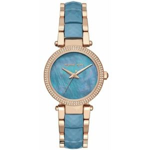MK blue mother of pearl face &rose gold watch