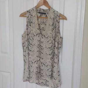 Cream/tan/dark brown reptile-print sleeveless top