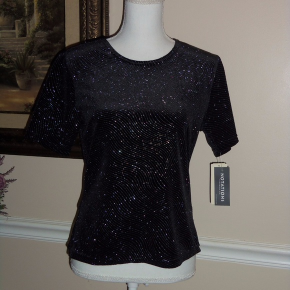 c221631ea54f Notations tops dressy black top sparkle small poshmark jpeg 580x580 Dressy  black