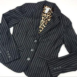 CAbi Leopard & Pinstripes Joey Blazer.