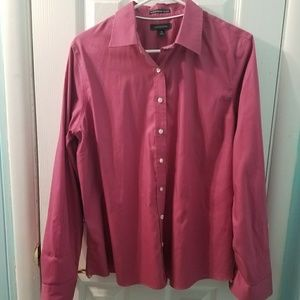 Land's End pink pinpoint oxford no iron