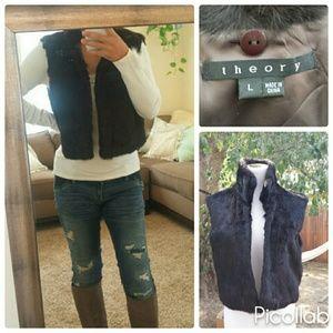 Theory Brown Rabbit Fur Vest