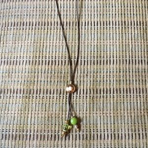 Jewelry - Brown leather w pearl and green glass beads