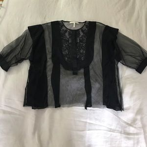 BCBG Embroidered Mesh and Silk Blouse