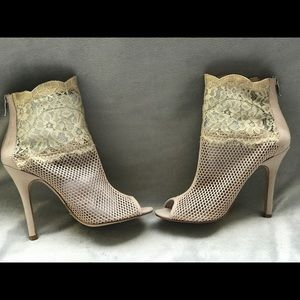 Mesh and lace victorian peep toe dress bootie NUDE