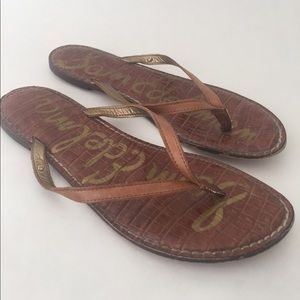 Sam Edelman Brown Gracie Leather Flip Flop Sandals