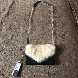 Rebecca Minkoff wallet on a chain w/ cream fur