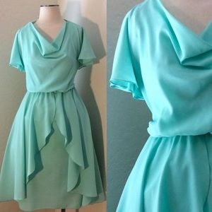 Aqua vintage ruffle dress sz L