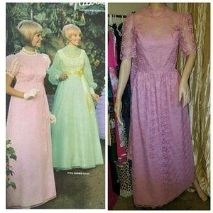 Authentic 1960s lace covered maxi dress