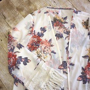 Cream and Coral Floral Kimono