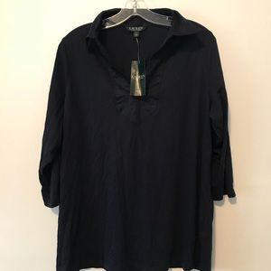 Lauren Ralph Lauren navy tunic top 1X NWT