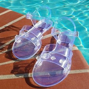 French Connection Jelly Sandals Clear Jewell Accen