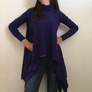 BCBG Maxazria purple turtleneck sweater dramatic