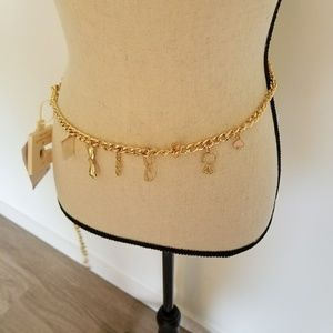Kate Spade Gold Chain Belt with charms