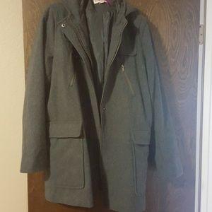 Merona XXL Grey Wool Hooded Jacket