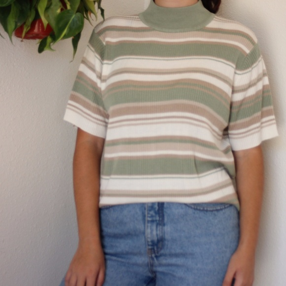 93dd0268c7395a croft   barrow Tops - Croft   Barrow Striped Mock Neck Sweater Tee