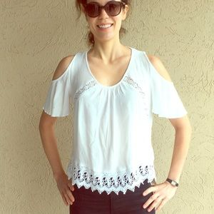Cold shoulder top with lace trim