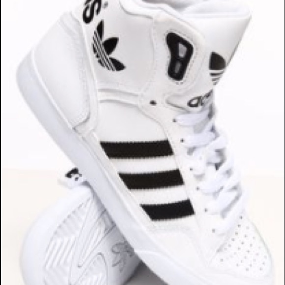 ae05484a8b8 adidas Shoes - Adidas white high top women s basketball shoes