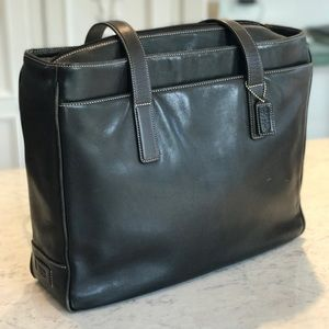Coach Black Leather briefcase, padded laptop tote