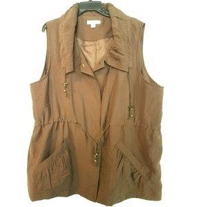 Coldwater Creek 2X (20W-22W) Brown Vest Jacket