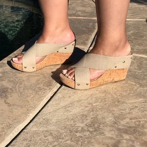 Lucky Brand, cork wedge heel.