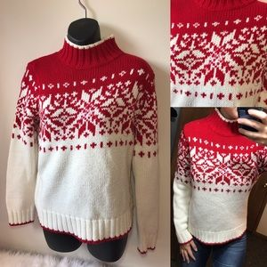 Holiday Christmas Red & White Snowflake Sweater M