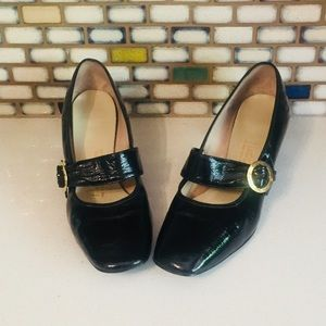 Vintage 60s shoes Black Mary Janes Heels 8.5
