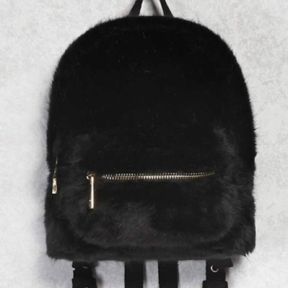 6a168742b5ca Forever 21 Handbags - Forever 21 Black Faux Fur Backpack