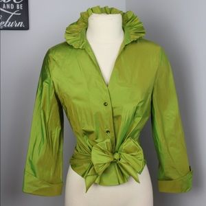 Tops - GORGEOUS green Rhinestoned blouse Flores & Flores
