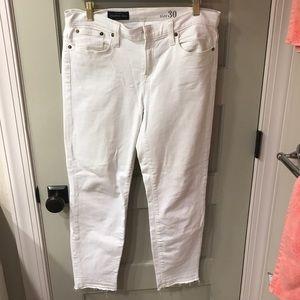 J Crew Reid frayed bottom white jeans. Size 30