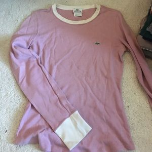 Long sleeve Lacoste shirt. Pink with white trim