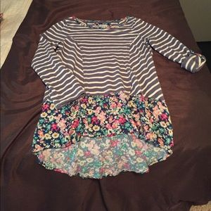 Anthropologie Stripe and floral top