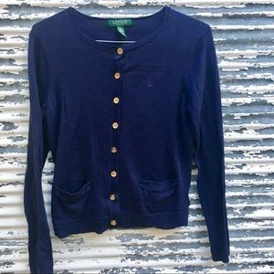 Ralph Lauren Navy Cardigan w Gold Buttons Sz SP
