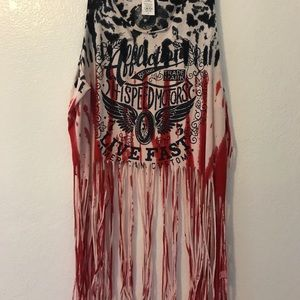 Affliction fringe tank top