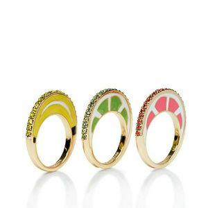 Set of 3 kate spade fruit rings