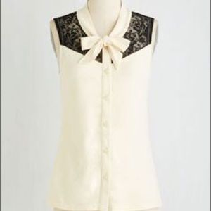 ModCloth Cream and Black Lace Tie top