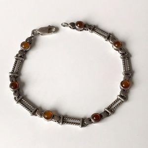 Vintage Amber Sterling Silver Cable Heart Bracelet