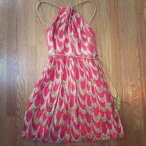 Trina Turk coral dress with metallic threading